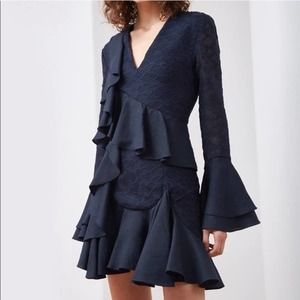 NWT C/MEO Collective Phase LS Dress Navy XXS